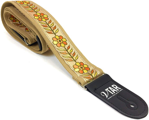 Handmade 60's Style Floral Hendrix Hemp Guitar Strap by VTAR, Made with Vegan Leather. For Acoustic, Bass and Electric (Beige Hemp OYF) - 1to1 Music