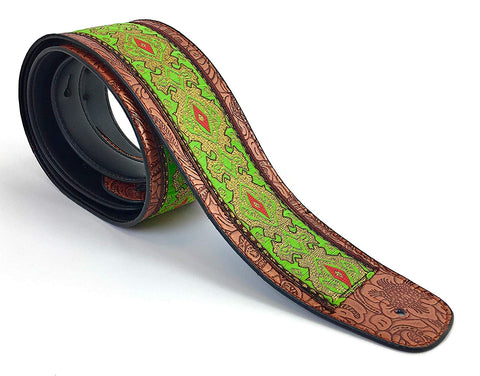 Handmade Vegan Psychedelic Jacquard Retro 70's Style Guitar Strap by VTAR, Made with Vegan Leather. For Acoustic, Bass and Electric (Green Psychedelic) - 1to1 Music