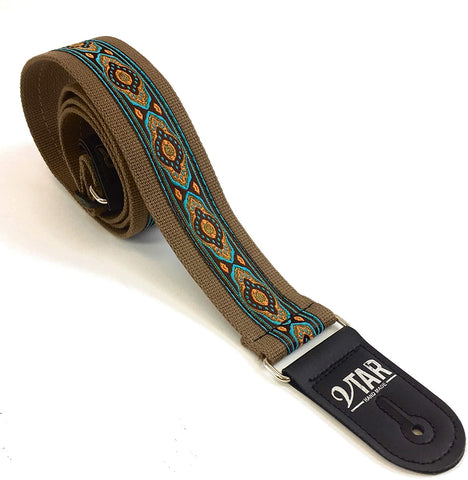 Handmade Bohemian Folk Floral 60's 70's Inspired Guitar Strap by VTAR, Made with Vegan Leather. For Acoustic, Bass and Electric (Brown Hemp Folk)