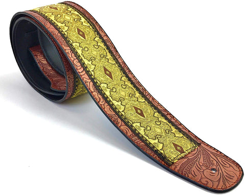 Handmade Vegan Psychedelic Jacquard Retro 70's Style Guitar Strap by VTAR, Made with Vegan Leather. For Acoustic, Bass and Electric (Yellow Psychedelic)) - 1to1 Music