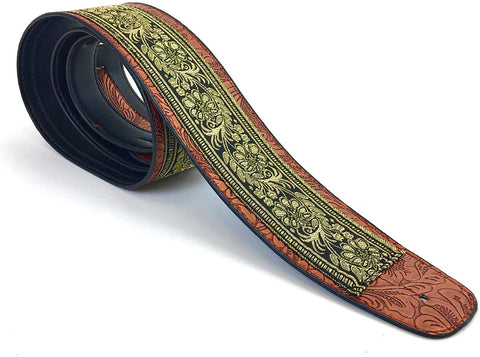 "Handmade Retro Psychedelic""Renaissance"" Collection 60's 70's Guitar Strap by VTAR, Made with Vegan Leather. For Acoustic, Bass and Electric (Gold Floral) - 1to1 Music"