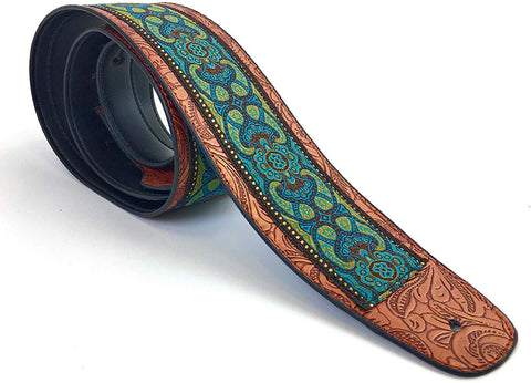 "Handmade Retro Psychedelic""Renaissance"" Collection 60's 70's Guitar Strap by VTAR, Made with Vegan Leather. For Acoustic, Bass and Electric (Blue Jacquard) - 1to1 Music"