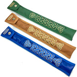 Handmade Irish Tin Whistle Case Sleeve by Dannan in Green, Blue or Brown Vegan Leather with Celtic Embroidery For Whistles in Key of D or C