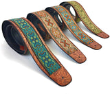 "Handmade Retro Psychedelic ""Renaissance"" Collection 60's 70's Guitar Strap by VTAR, Made with Vegan Leather. For Acoustic, Bass and Electric (Teal and Gold) - 1to1 Music"