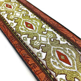 Handmade Psychedelic Jacquard Retro 70's Style Guitar Strap by VTAR, Made with Vegan Leather. For Acoustic, Bass and Electric (Silver Psychedelic) - 1to1 Music