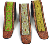Handmade Vegan Psychedelic Jacquard Retro 70's Style Guitar Strap by VTAR, Made with Vegan Leather. For Acoustic, Bass and Electric (Green Psychedelic)