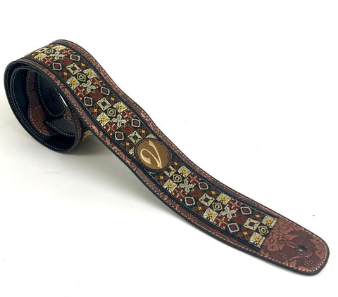 Handmade 60's 70's Woodstock Guitar Strap by VTAR, Made with Vegan Leather. (The Jimi Strap)