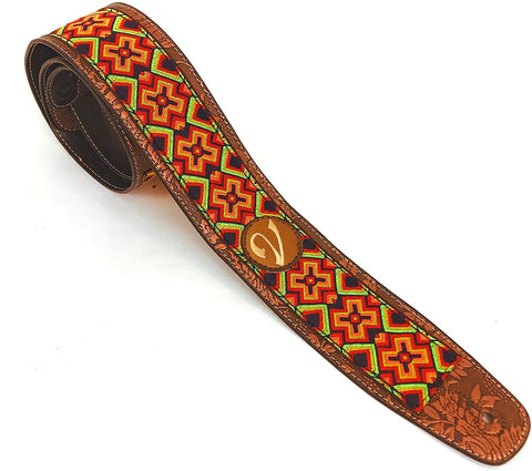 Handmade Retro Psychedelic 60's 70's Jacquard Aztec Guitar Strap by VTAR, Made with Vegan Leather. For Acoustic, Bass and Electric (Colourful Reggae Aztec)