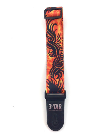Vtar Orange Flame Tribal Dragon Design Acoustic Electric Vegan Guitar Strap with Adjustable Length - 1to1 Music
