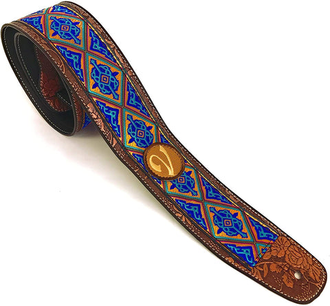 Handmade Retro Psychedelic 60's 70's Jacquard Aztec Guitar Strap by VTAR, Made with Vegan Leather. For Acoustic, Bass and Electric (Blue and Gold Aztec))