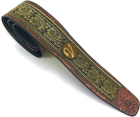 Handmade 60's 70's Jacquard Renaissance Guitar Strap by VTAR, Made with Vegan Leather. Gold & Black Floral