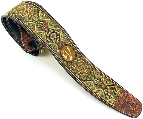 Handmade 60's 70's Jacquard Renaissance Guitar Strap by VTAR, Made with Vegan Leather. Green Renaissance