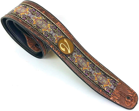 Handmade 60's 70's Jacquard Renaissance Guitar Strap by VTAR, Made with Vegan Leather. Purple Renaissance