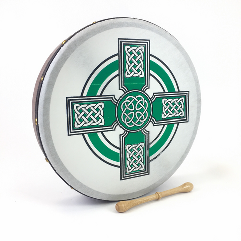 "Handmade by Dannan Irish Celtic Vegan 16"" Bodhran Hand Drum (Green Cross) - 1to1 Music"