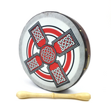 "Handmade by Dannan Irish Celtic Vegan 10"" Bodhran Hand Drum (Red Cross) - 1to1 Music"