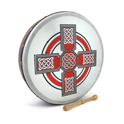 "Handmade by Dannan Irish Celtic Vegan 16"" Bodhran Hand Drum (Red Cross) - 1to1 Music"