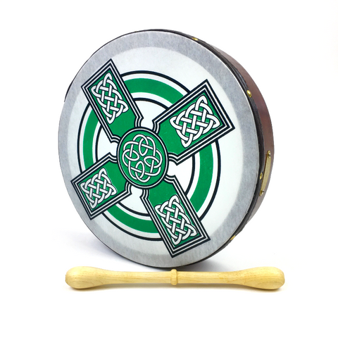 "Handmade by Dannan Irish Celtic Vegan 10"" Bodhran Hand Drum (Green Cross) - 1to1 Music"