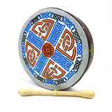 "Handmade by Dannan Irish Celtic Vegan 10"" Bodhran Hand Drum (Orange and Blue Cross) - 1to1 Music"
