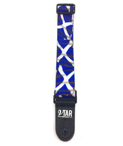 Vtar Scottish Saltire Flag Style Blue and White Vegan Guitar Strap with 6 Free Plectrums
