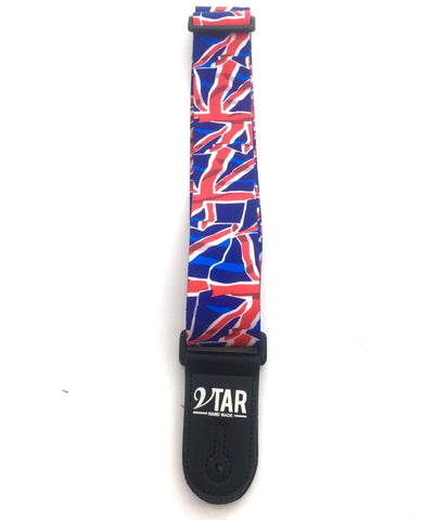 Vtar UK British Union Jack Flag Style Blue Red and White Vegan Guitar Strap