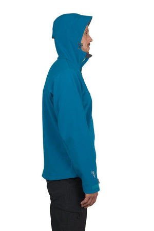 Misti - Mens Water Resistant, Wind Resistant Hooded Soft shell Jacket - Teal Blue