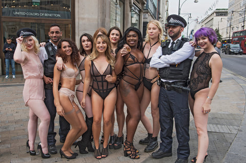 Bluebella Dare to Bare Oxford Circus shoot for London Fashion Week LWF