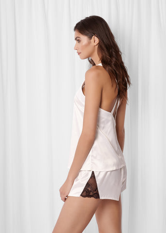 Bluebella Nightwear - Isabella Cami and Short Set and Chemise Ivory Black lace