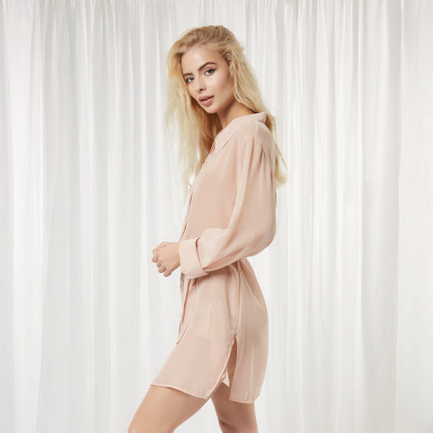 Bluebella Nightwear - Phoebe Shirt in Black or Rose Dust