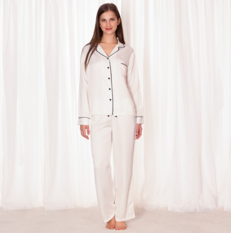 Bluebella Nightwear - Claudia Shirt and Trouser Set Cream
