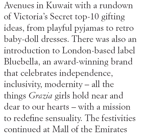 Bluebella on Grazia Middle East