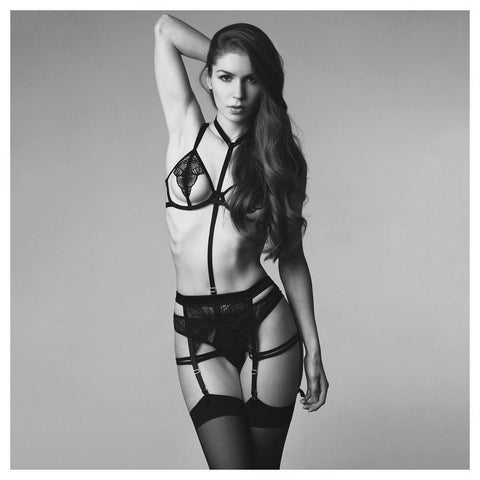 Bluebella lingerie - Emerson Bra, Suspender, Thong and Plain-top Stockings