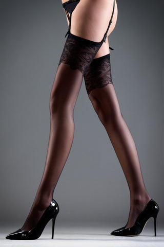 Hosiery - Lace-topped Stockings - Black