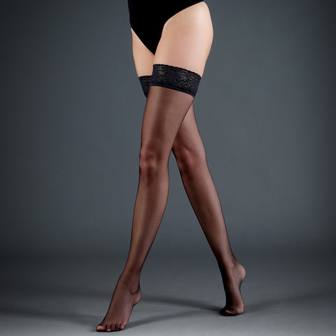 Hold Ups Plain Leg/Lace Top Black