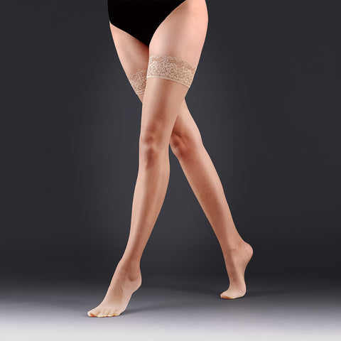 Hold Ups Plain Leg/Lace Top Champagne