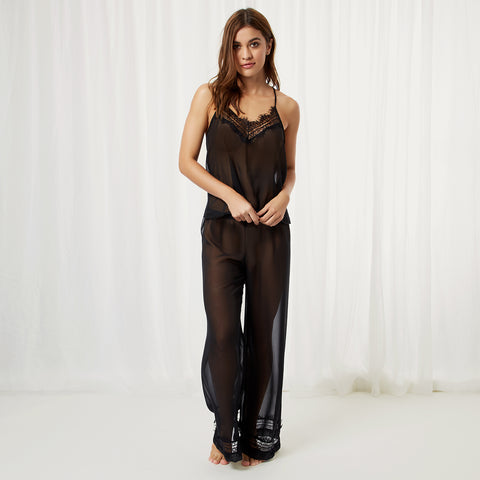 Penelope Cami and Trouser Set Black