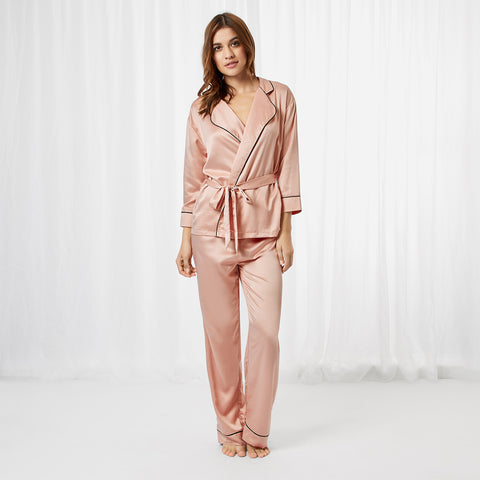 Wren Kimono and Trouser Set Rose Dust