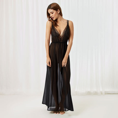 Lily Long Chemise Black