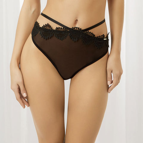 Gabriela High-Waist Thong Black