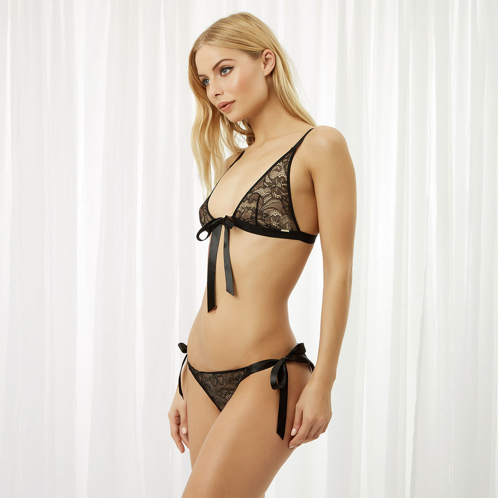 Tabitha Tie-front Bra and Tie-side Brief Set Black