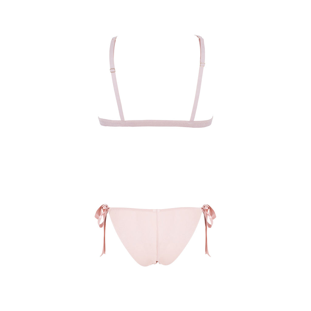 Tabitha Tie-front Bra and Tie-side Brief Set Rose Dust