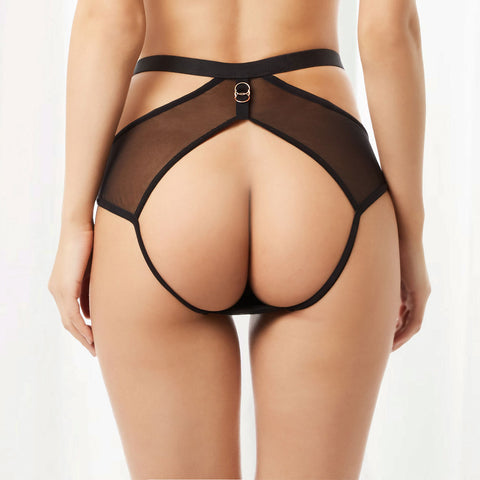 Orion High-Waist Open Back Brief Black