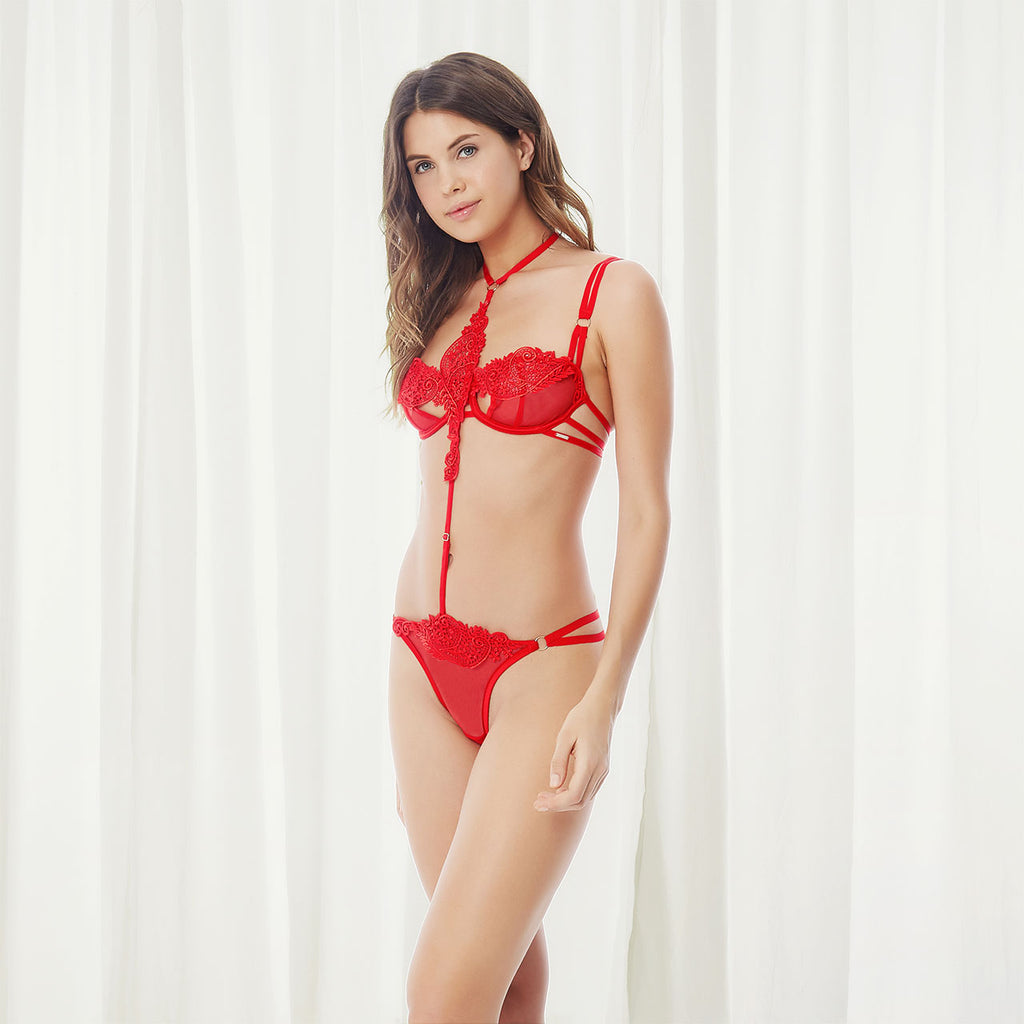 Julienne Harness Thong Red
