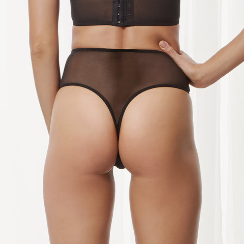 Mortimer High Waist Thong Black