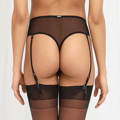 Vida High-Waist Suspender Thong Rose Dust/Black