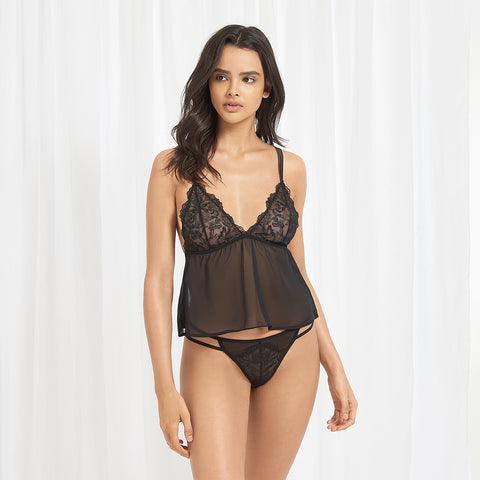 Sana Chemise and Thong Set Black