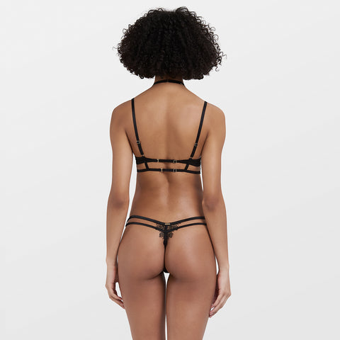 Ellis Harness Thong with detachable harness Black