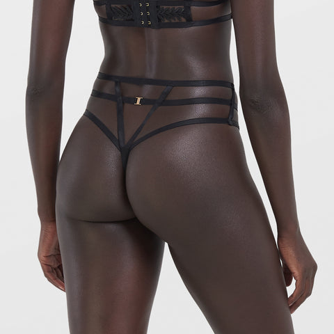 Lennon High-waist Thong Black