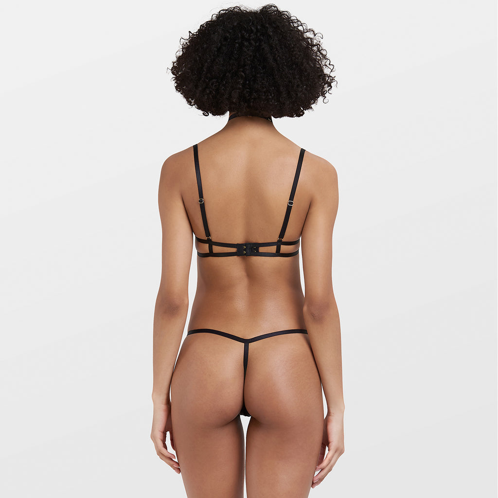 Everly Harness Thong With Detachable Harness Black