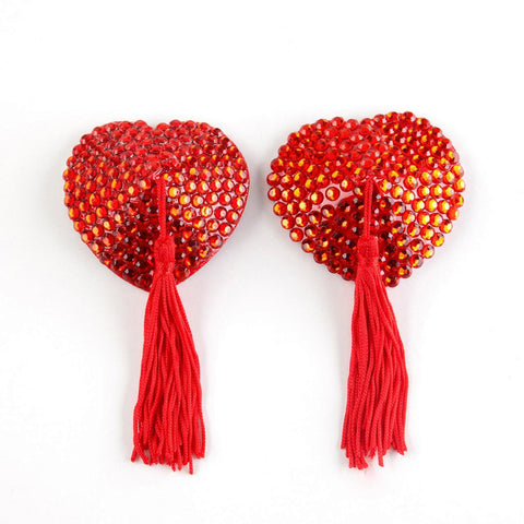 Crystal Nipple Tassels Red