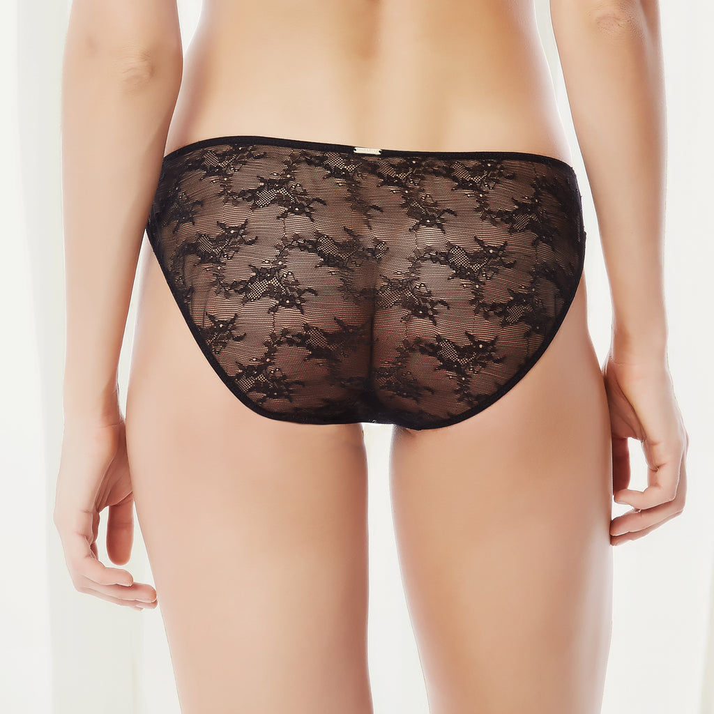 Belle Lace Crotchless Tassel Brief Black
